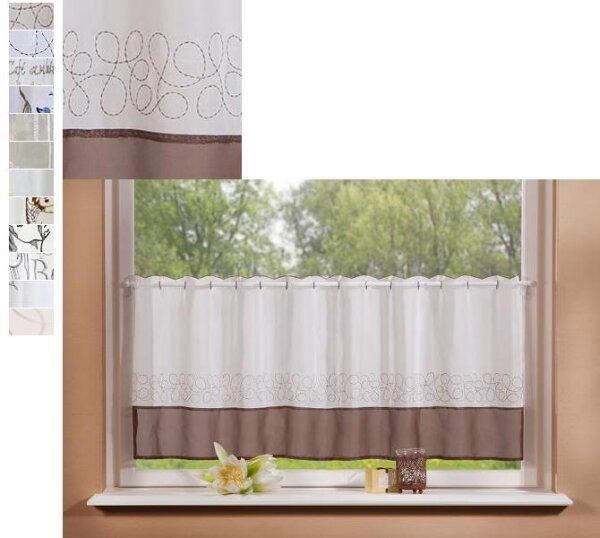 42001  Voile Scheiben Gardine mit Stickerei, 3,90 €   Vorhang
