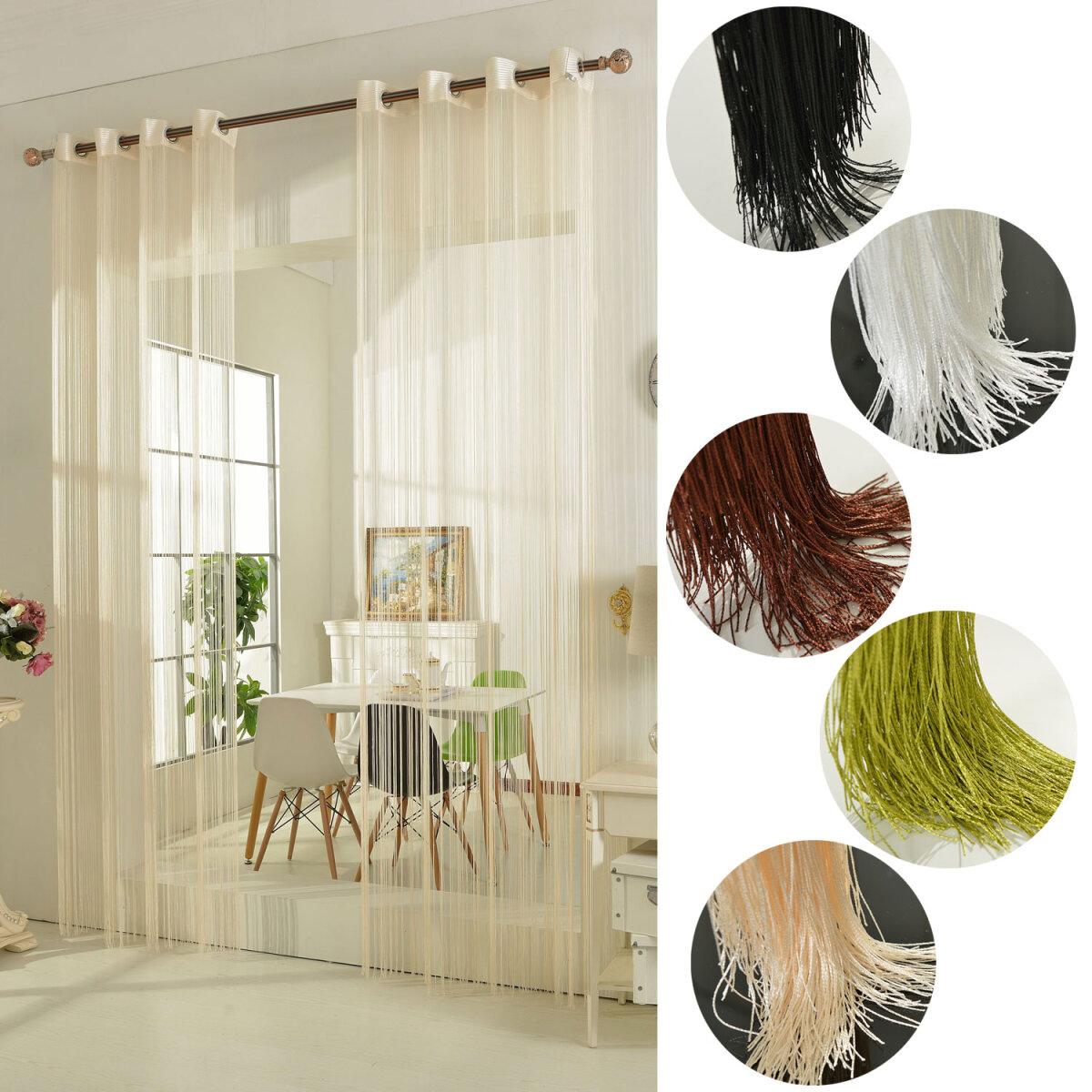 20304 fadengardine fadenstore vorhang mit sen raumteiler 25. Black Bedroom Furniture Sets. Home Design Ideas