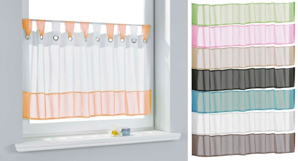 610710 scheibengardine voile gardine sen mit bord re. Black Bedroom Furniture Sets. Home Design Ideas