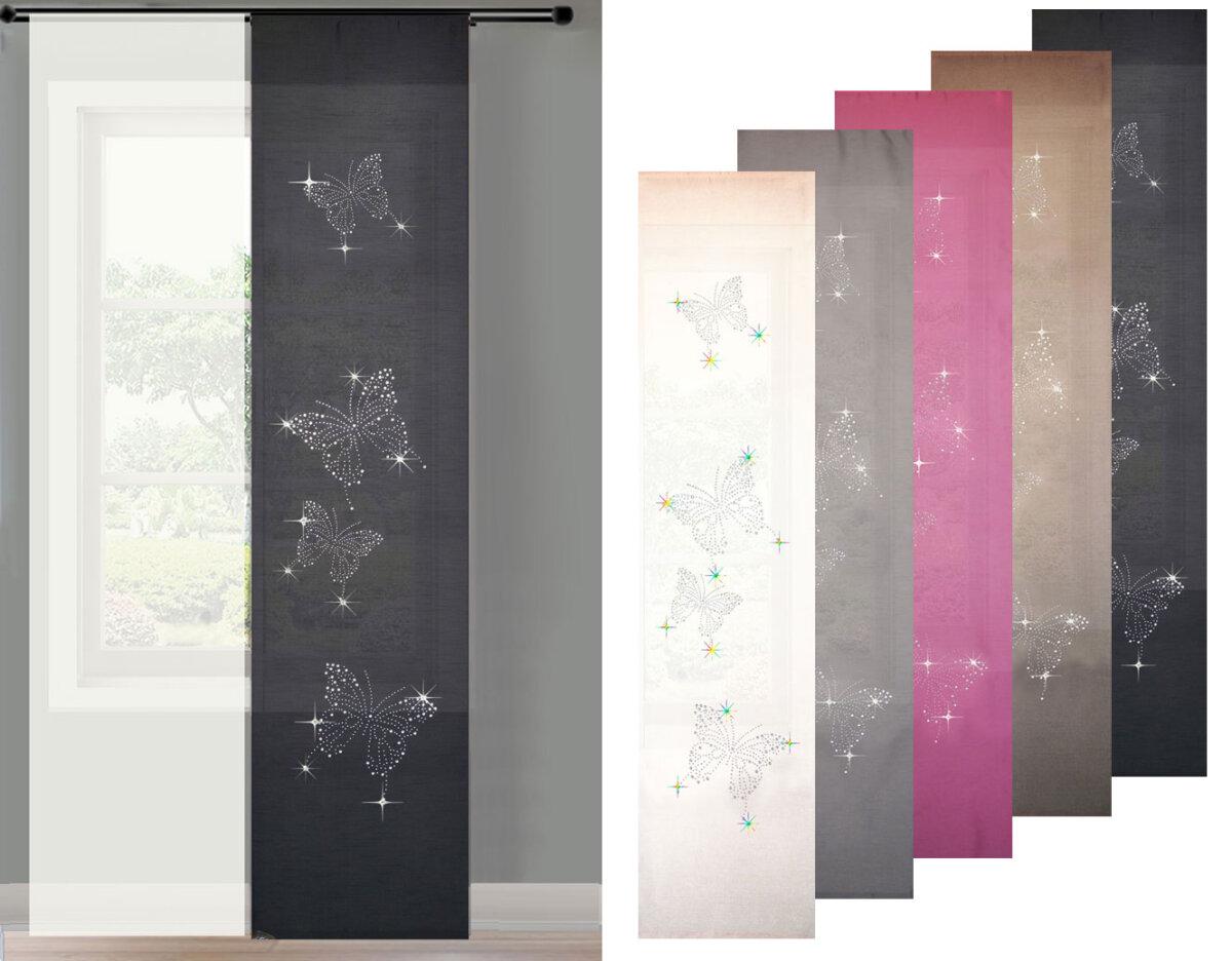 85626 2er set schiebegardine gardine fl chenvorhang butterfl. Black Bedroom Furniture Sets. Home Design Ideas