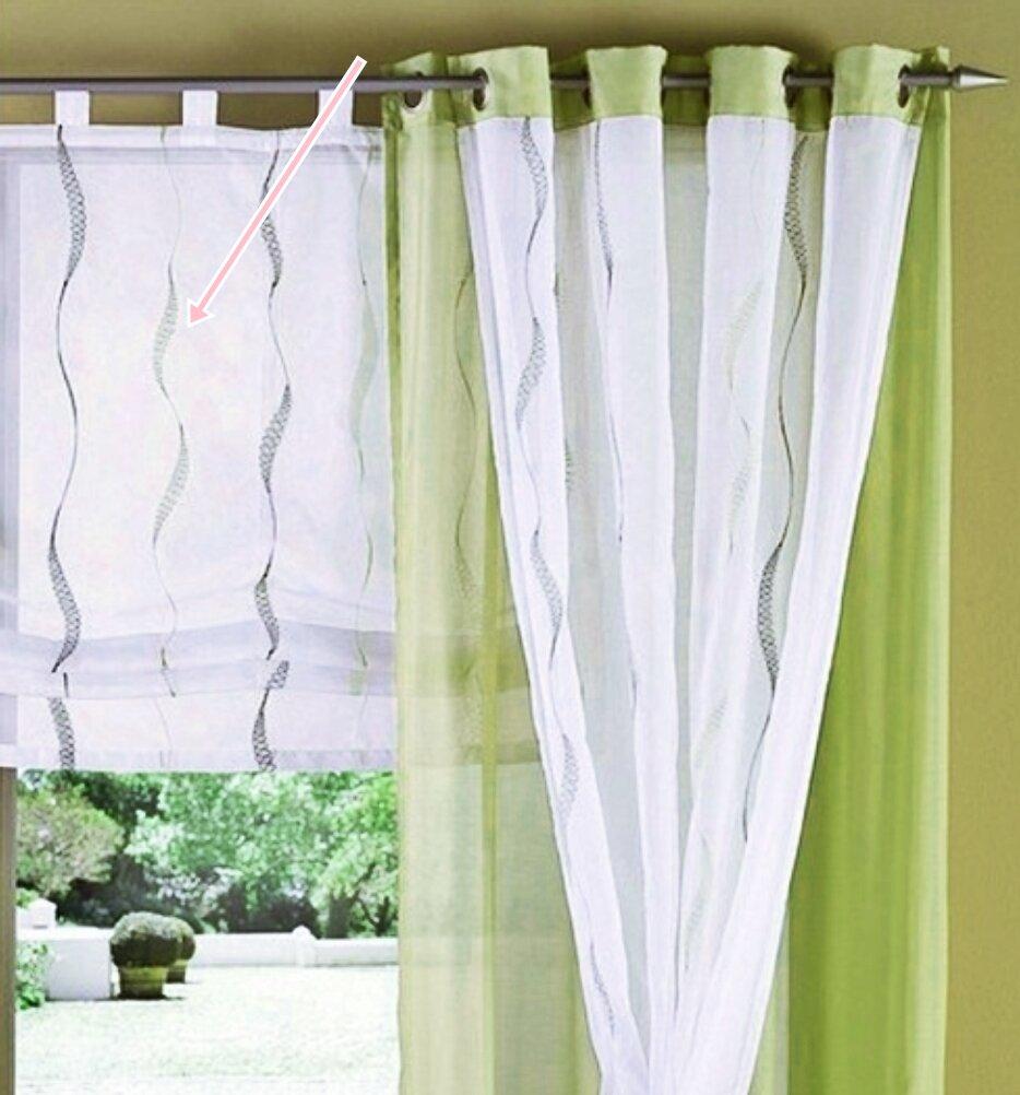 raffrollo mit schlaufen farbe gr n design wellen transparent. Black Bedroom Furniture Sets. Home Design Ideas