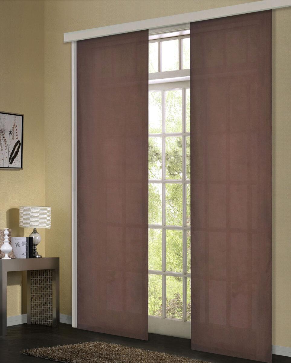 85600 braun 245x60 schiebevorhang fl chenvorhang mikrofaser b. Black Bedroom Furniture Sets. Home Design Ideas