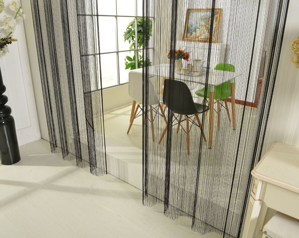 20304 schwarz 250x140 fadengardine fadenstore vorhang mit se. Black Bedroom Furniture Sets. Home Design Ideas