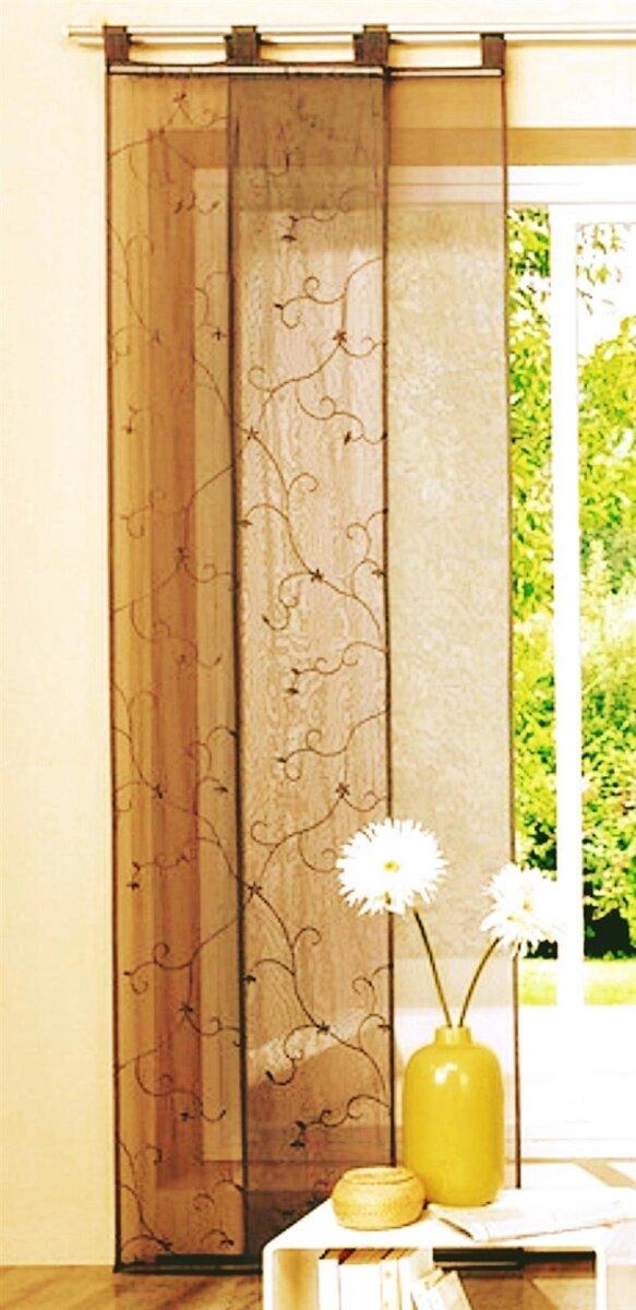 schiebevorhang mit schlaufen braun bestickt mit blumen und ranken. Black Bedroom Furniture Sets. Home Design Ideas