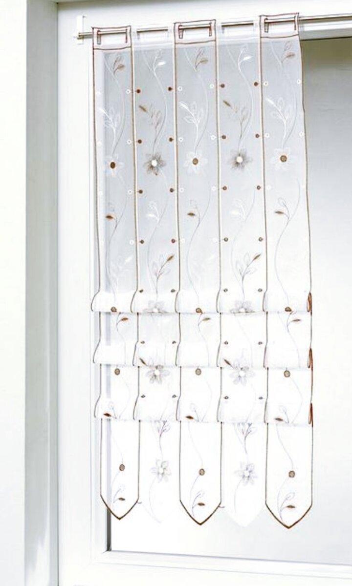 raffrollo stangendurchzug farbe taupe bestickter voile. Black Bedroom Furniture Sets. Home Design Ideas