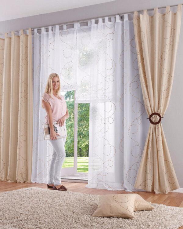 raffrollo bestickt mit schlingenmotiv transparent. Black Bedroom Furniture Sets. Home Design Ideas