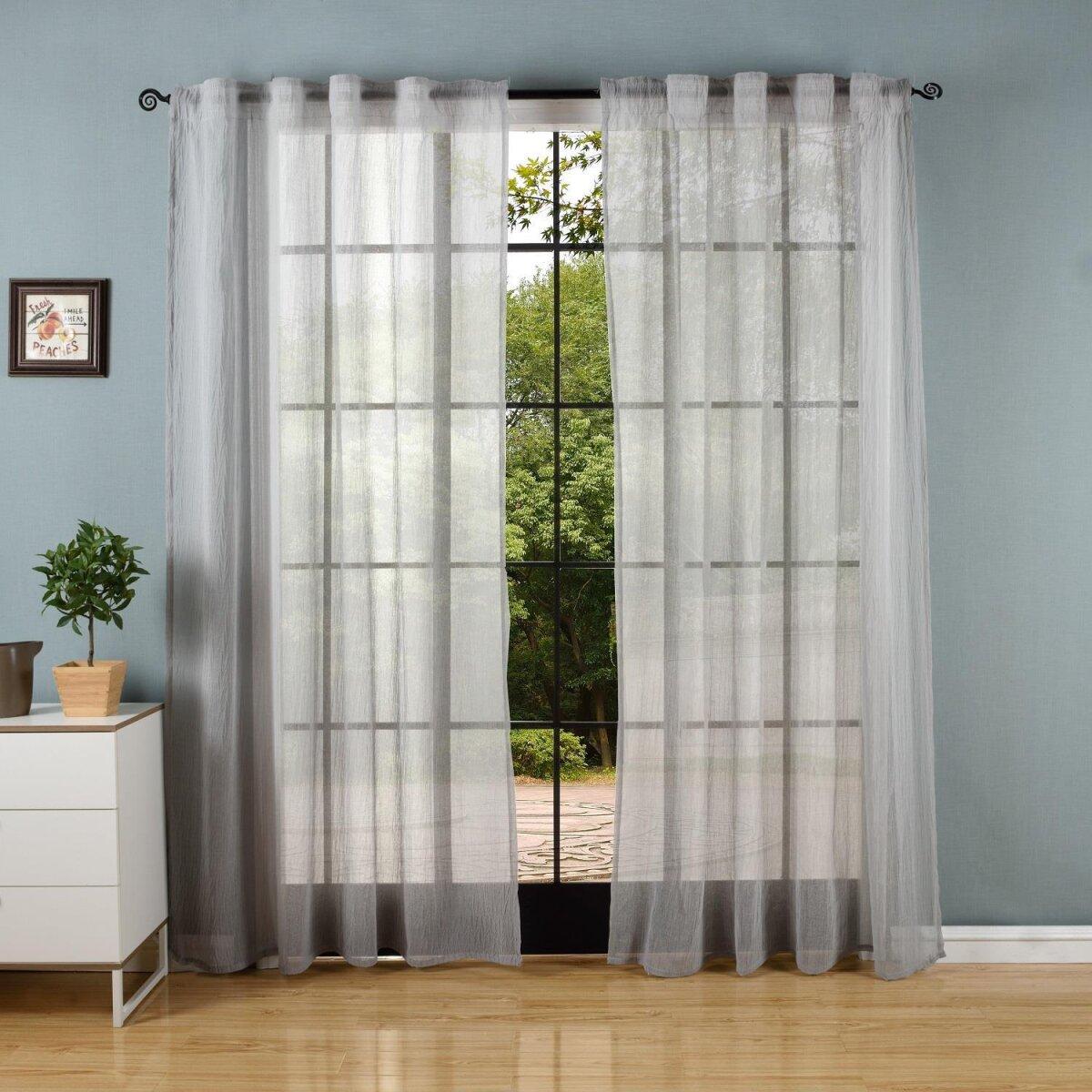 20475 gardine crushed leinen optik transparent voile verdeckte sc. Black Bedroom Furniture Sets. Home Design Ideas