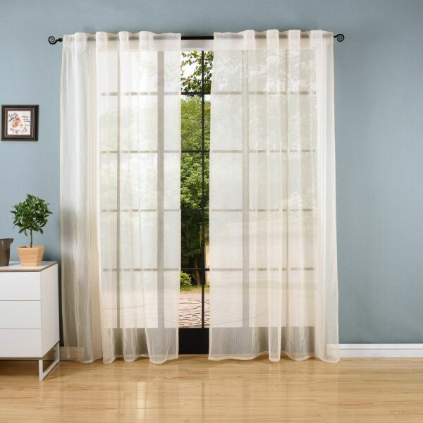 -20475-Gardine Crushed Leinen Optik Transparent Voile verdeckte Schlaufen -20475-