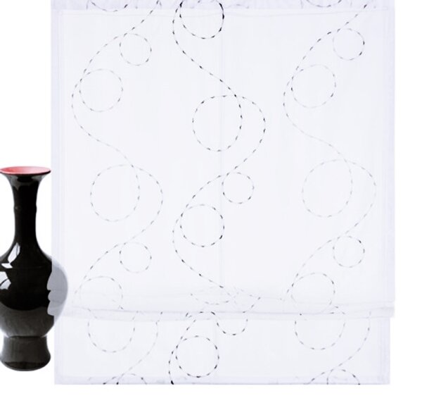 raffrollo mit klettband farbe weiss grau design schlingenmotiv b. Black Bedroom Furniture Sets. Home Design Ideas