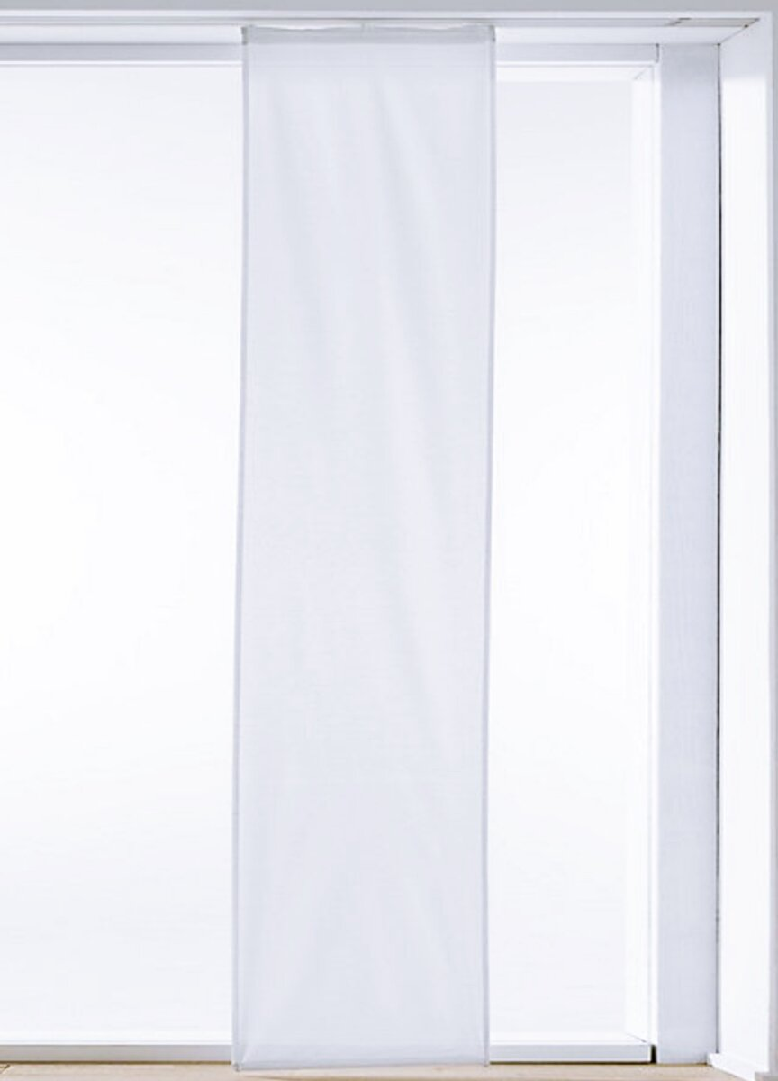 schiebevorhang mit universalgardinenband farbe weiss design uni h. Black Bedroom Furniture Sets. Home Design Ideas