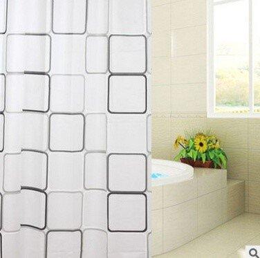 0110  Block 180x200 Duschvorhang EVA Badezimmer Dusche Vorhang Ring