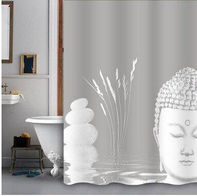 0110  Buddha 180x180 Duschvorhang EVA Badezimmer Dusche Vorhang Ringe