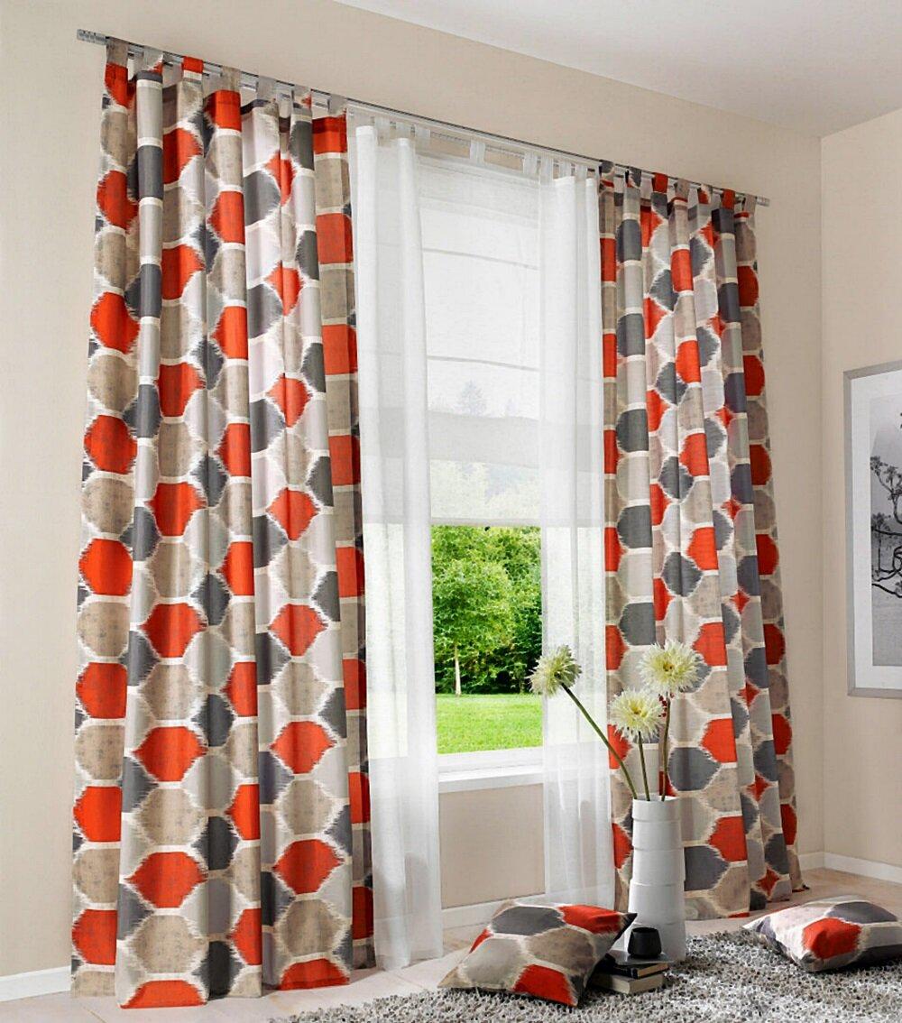 deko vorhang mit schlaufen blickdicht farbe rot grau retro desig. Black Bedroom Furniture Sets. Home Design Ideas