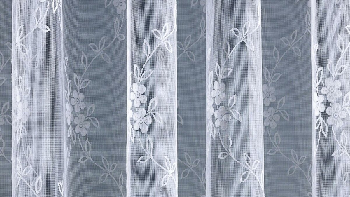 gardine jacquard mit kr uselband farbe weiss design. Black Bedroom Furniture Sets. Home Design Ideas