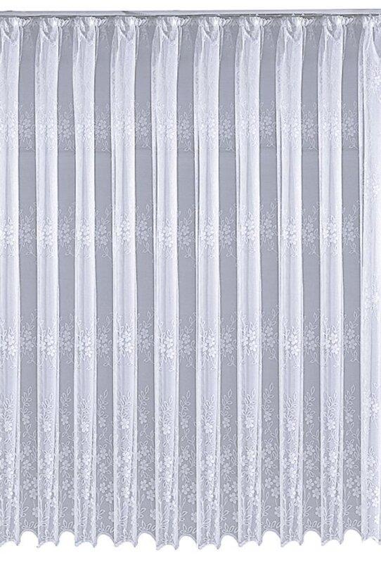 Gardine Jacquard Mit Kräuselband Farbe Weiss Design Blumen