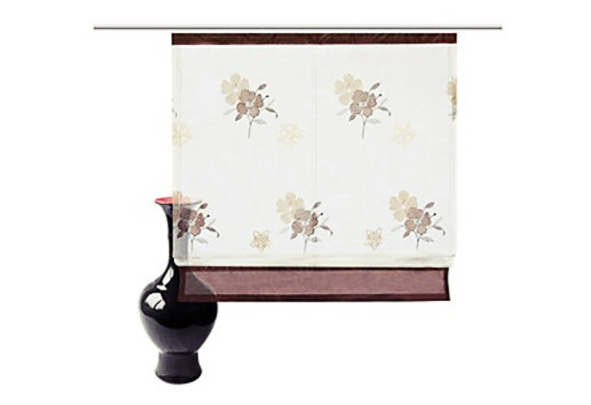 raffrollo mit klettband farbe creme braun design. Black Bedroom Furniture Sets. Home Design Ideas