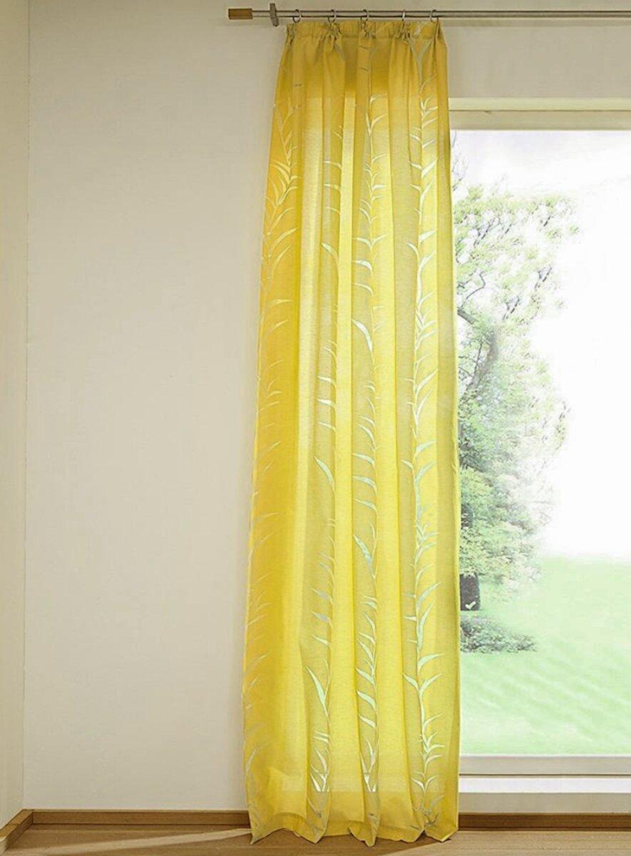 dekoschal mit schlaufen ausbrenner farbe senfgelb design bl. Black Bedroom Furniture Sets. Home Design Ideas