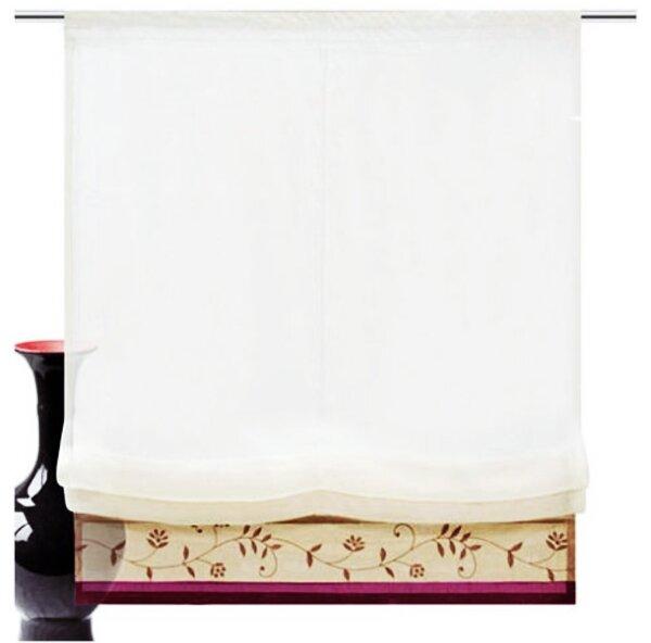 raffrollo mit klettband farbe beere design blumen bestickt taftb. Black Bedroom Furniture Sets. Home Design Ideas