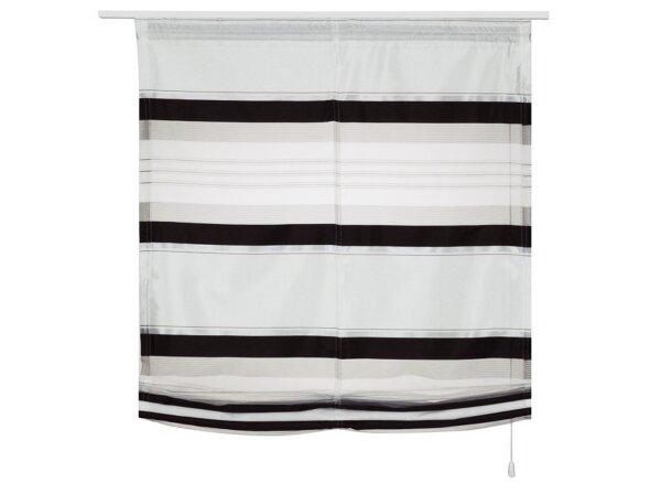 raffrollo mit klettband farbe schwarz weiss querstreifen gewebt. Black Bedroom Furniture Sets. Home Design Ideas