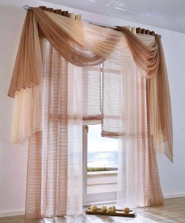 raffrollo mit schlaufen farbe braun design querstreifen gewebt o. Black Bedroom Furniture Sets. Home Design Ideas