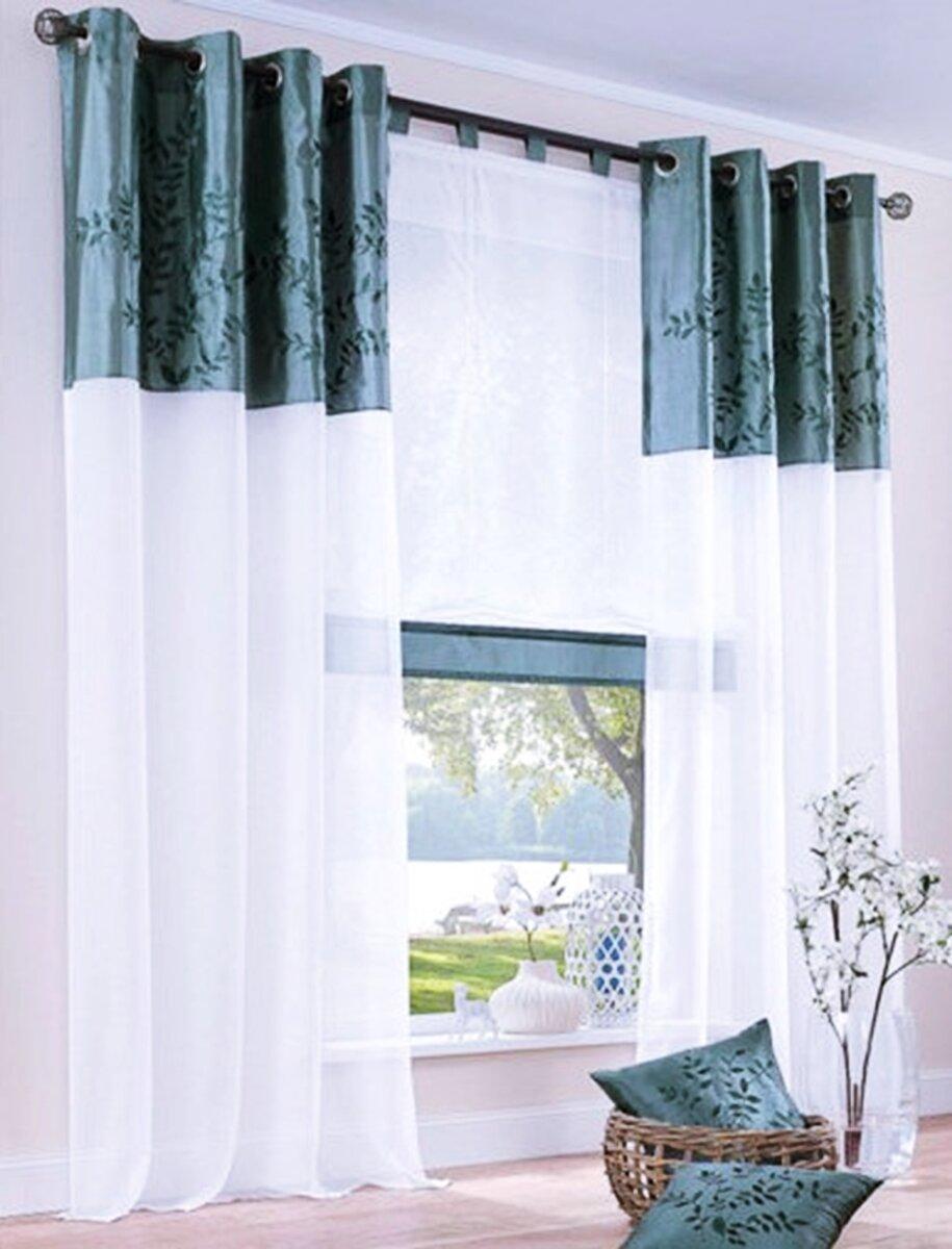 gardine mit sen farbe petrol design floral bestickt bord u. Black Bedroom Furniture Sets. Home Design Ideas
