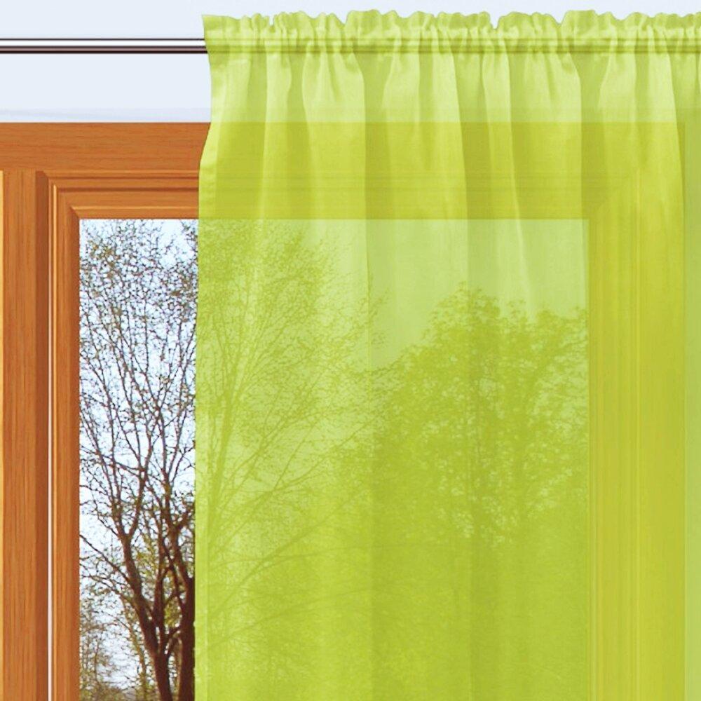 gardine mit kr uselband farbe gr n uni transparenter st. Black Bedroom Furniture Sets. Home Design Ideas
