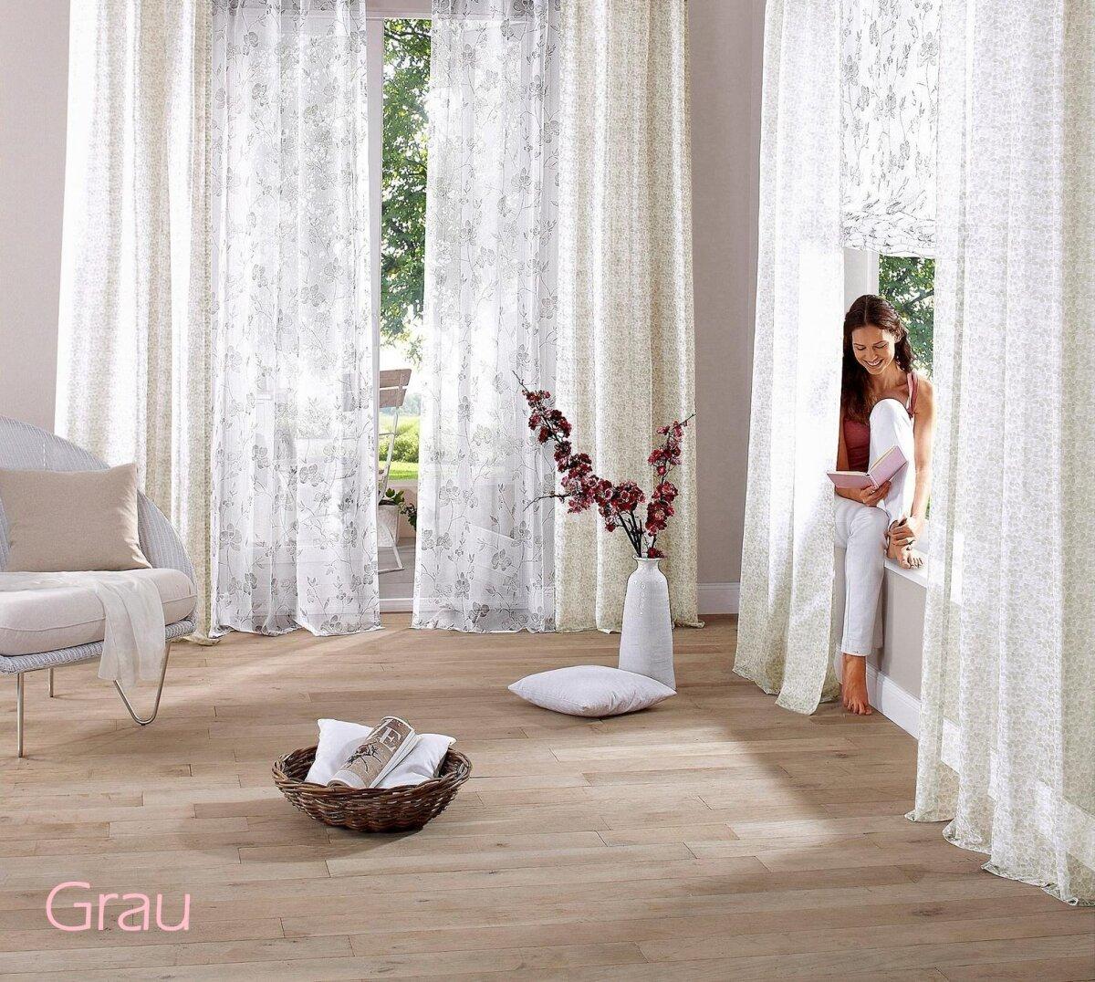 gardine mit kr uselband 2 st ck farbe weiss rot design. Black Bedroom Furniture Sets. Home Design Ideas