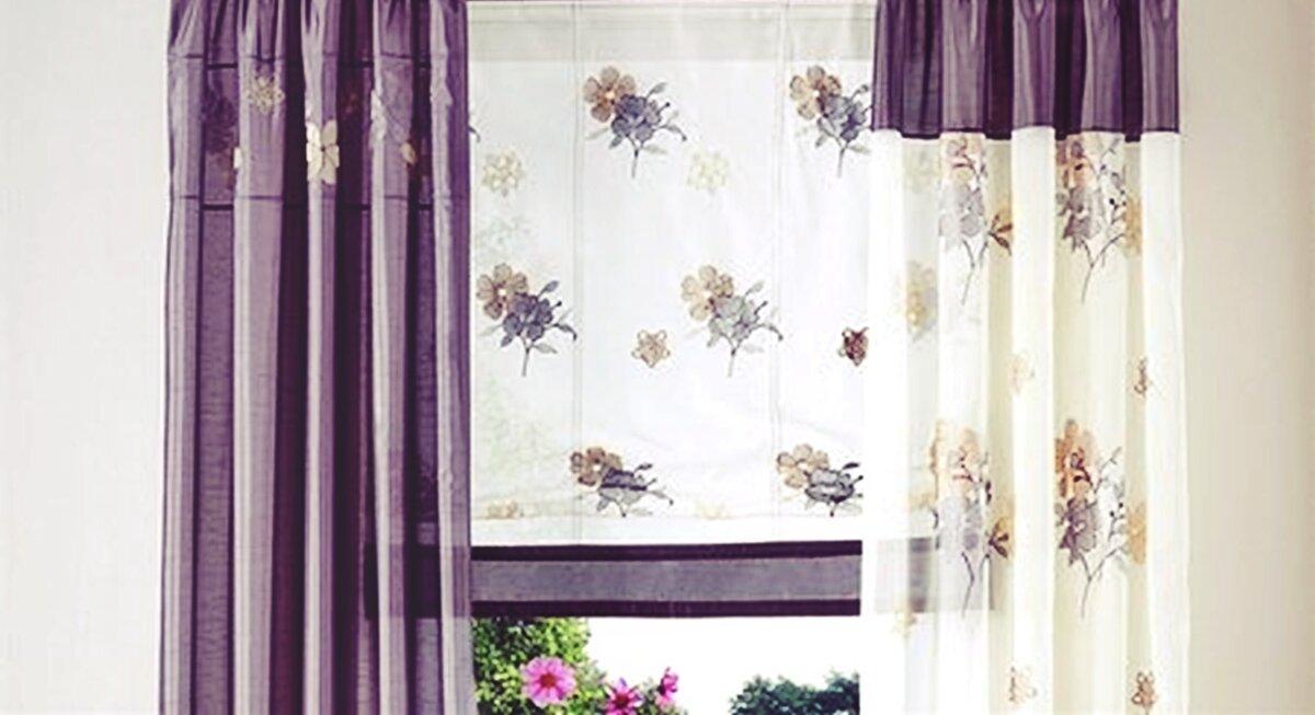 raffrollo mit schlaufen farbe lila creme floral bestickt blumen. Black Bedroom Furniture Sets. Home Design Ideas
