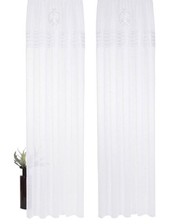 gardine mit sen farbe weiss satinbord re plisseefalten. Black Bedroom Furniture Sets. Home Design Ideas
