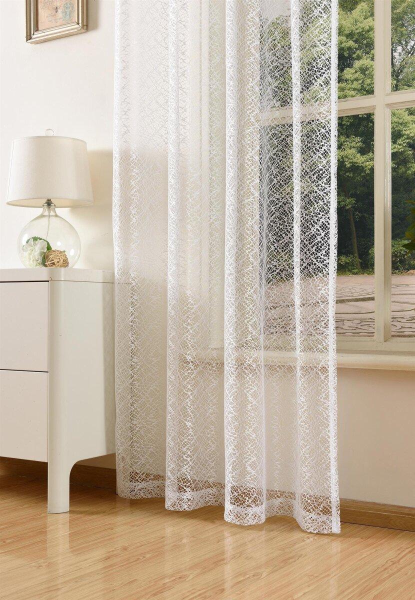 20352 001 wei 245x140 gardine netzvorhang mit sen einf. Black Bedroom Furniture Sets. Home Design Ideas
