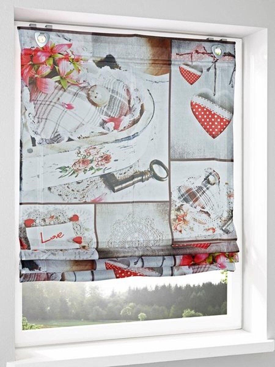 Raffrollo, Farbe rot/beige, 1 Stück, heine home, -4635- Einfache
