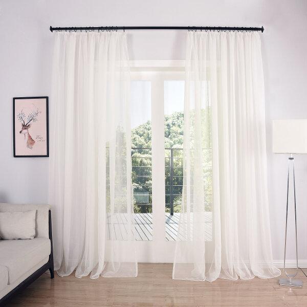 610005 voile gardinen set 2er pack transparent lill. Black Bedroom Furniture Sets. Home Design Ideas