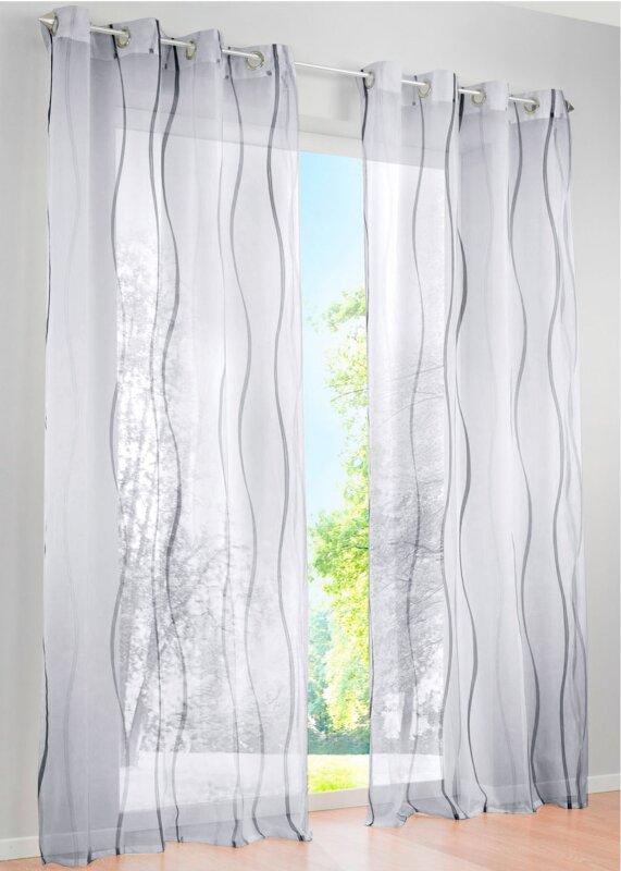 6100018 Gardine Vorhang ösen Voile Druck Vienna Transparent