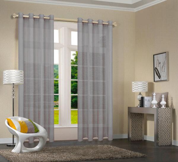 20332CN- 2er-Pack Grau Vorhang Transparent Gardinen Set Wohnzimmer V