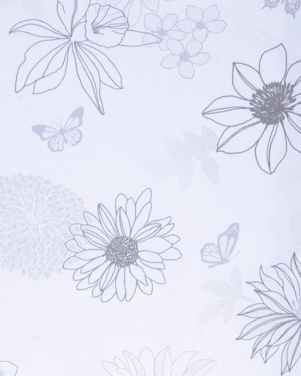schiebevorhang mit klettband farbe grau design flower mix blumen. Black Bedroom Furniture Sets. Home Design Ideas