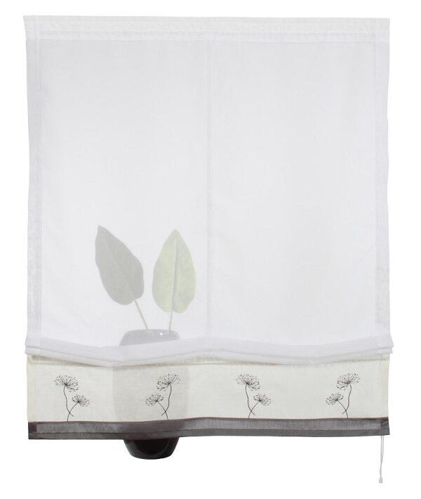 raffrollo mit kr uselband farbe weiss grau bestickt. Black Bedroom Furniture Sets. Home Design Ideas