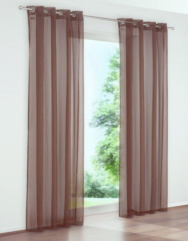 Gardine, 2er Pack, My Home, mit Ösen, Farbe Braun, Design Uni, t