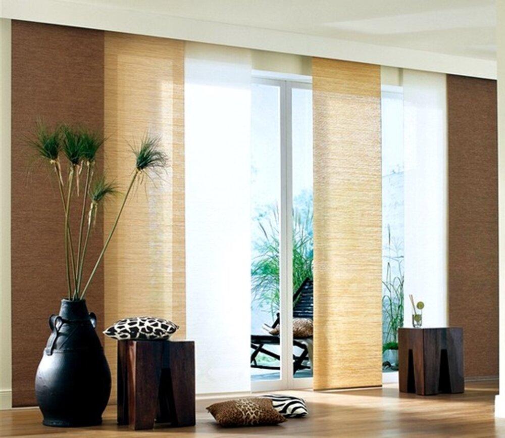 Schiebevorhang ma e hxb 160x57cm braun bambuslook for Bambus schiebevorhang