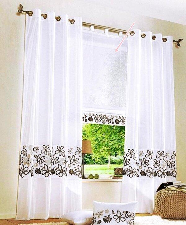 Raffrollo, mit Schlaufen, Farbe Weiss, Braun, Design Floral Bestickt,